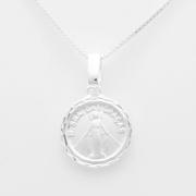 Pingente Medalha Redonda Nossa Senhora Das Graças 14mm Proteção Prata 925