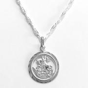 Pingente Medalha São Jorge Vazado 35mm Em Prata 925