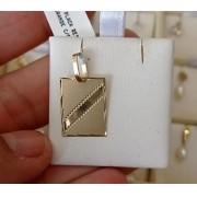 Pingente Placa Retangular 18mm Em Ouro 18k