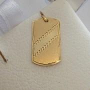 Pingente Placa Retângular Com Faixa Em Ouro 18k - 0.78grs