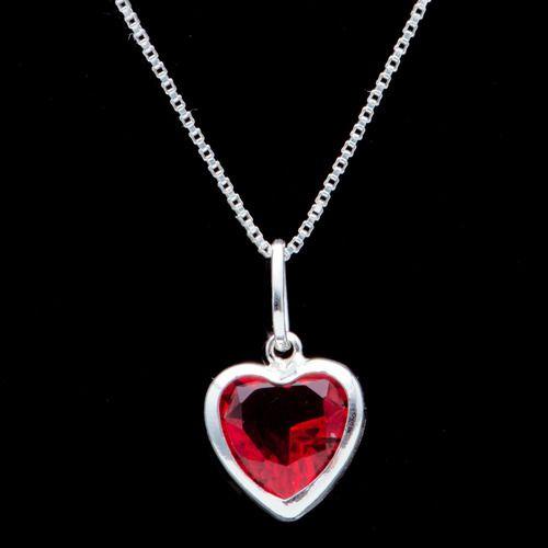 Pingente Coração Contorno Zircônia 8mm Vermelha Em Prata 925