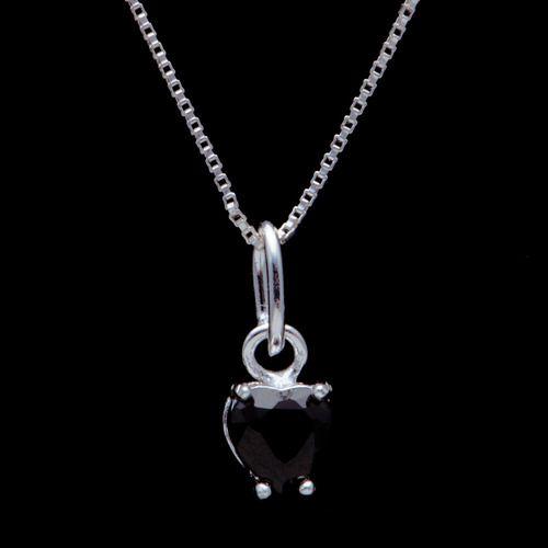 Pingente Coração Zircônia 5mm Preto Em Prata 925