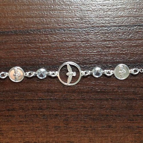 Pulseira C/ Zircônia Espirito Santo Em Prata 925 -19cm