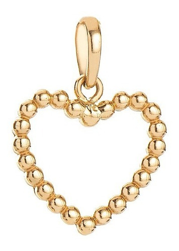 Pingente Coração Bolinha Em Ouro 18k