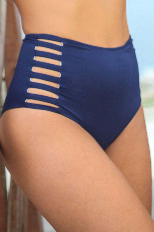 Calcinha Hot Pant Tiras Laterais Azul Marinho
