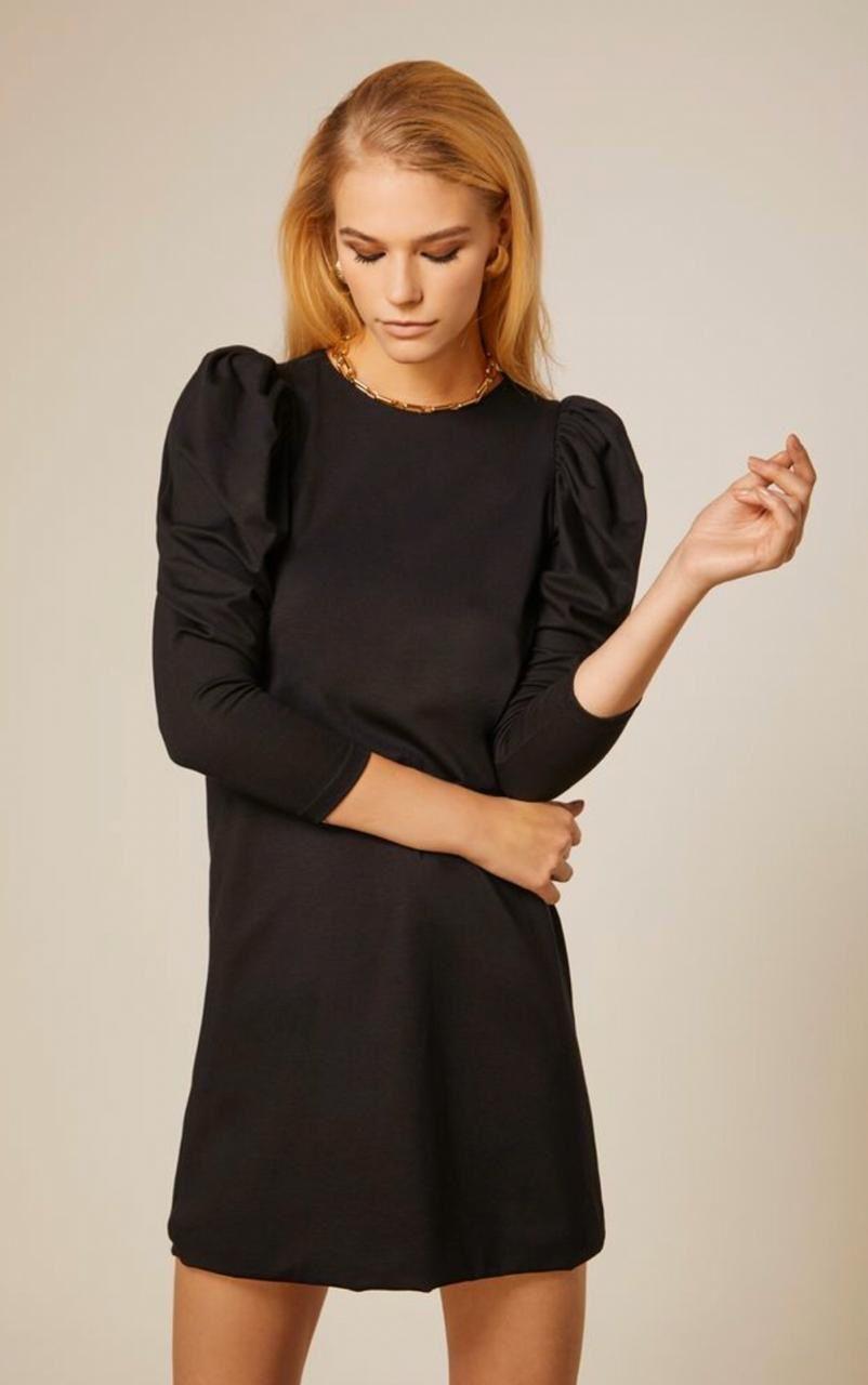 Vestido Curto com Manga Longa Preto - Iorane