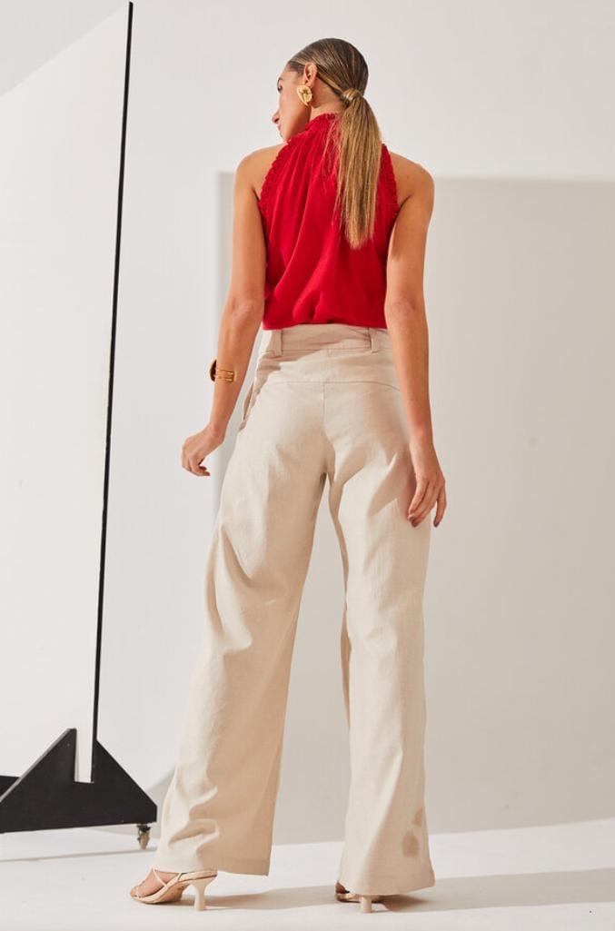 Calça Pantalona Silvia Braz Com Pregas Frente E Botão Forrado - Zen