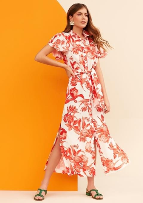 Chemise Orange Flowers - Sclub