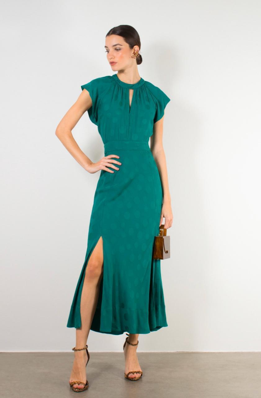 Vestido Geni Midi com Fenda Verde - Linda de Morrer