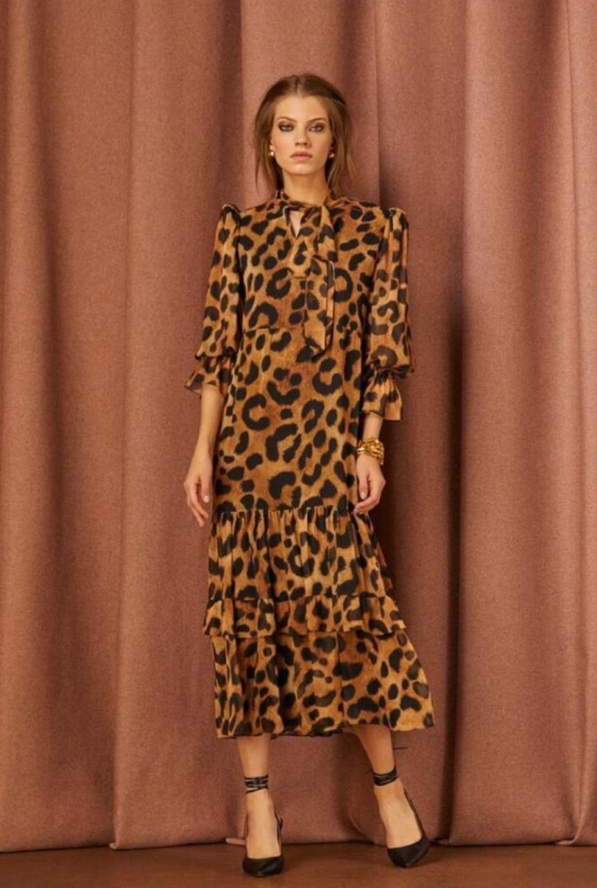 Vestido Longuete Gola Foulard - Iorane