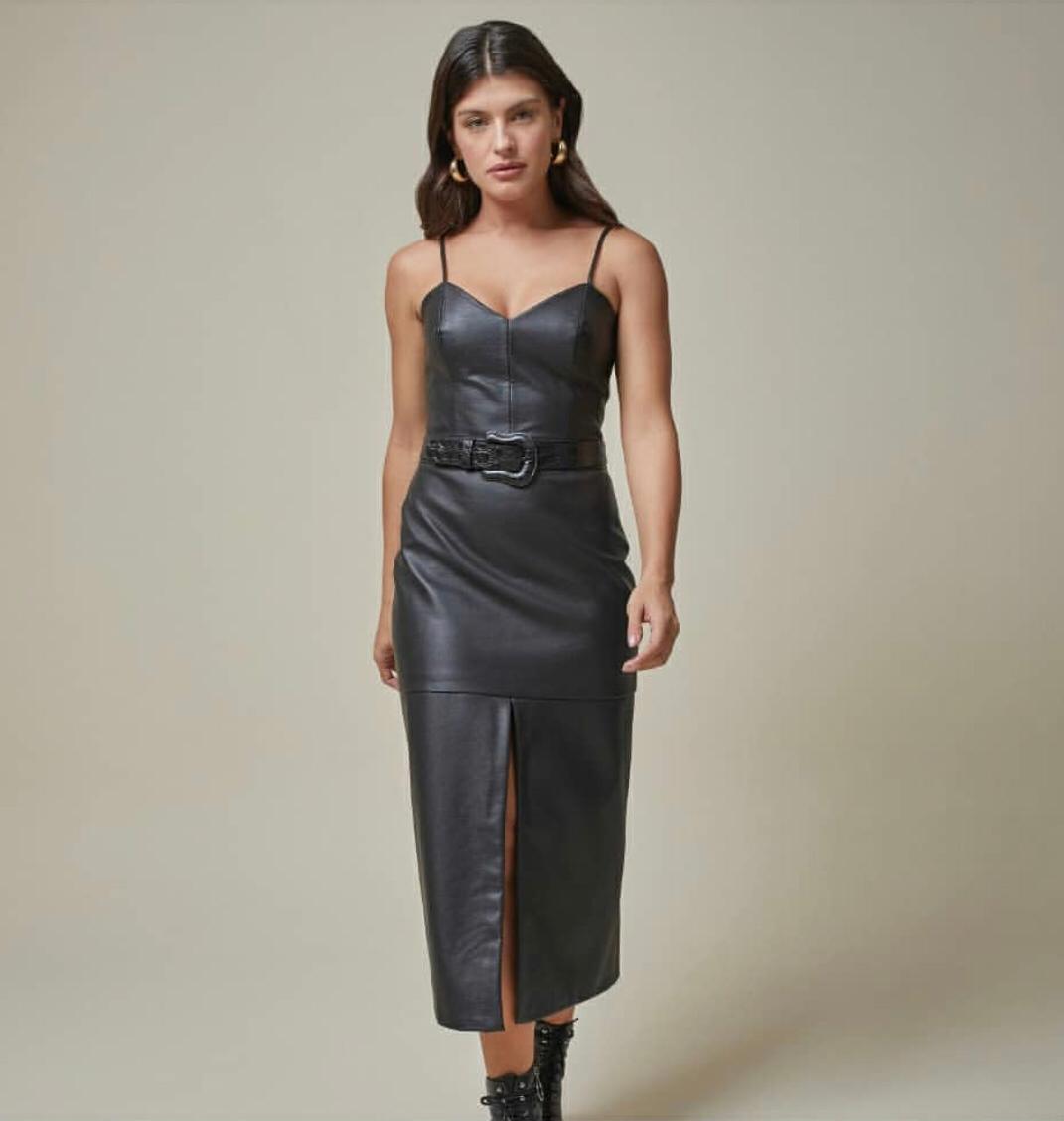 Vestido Midi com Fenda - Rosa Dahlia