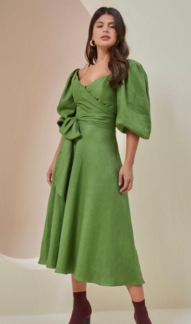 Vestido Midi de Linho - Rosa Dahlia