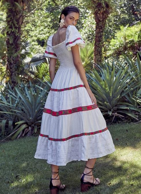 Vestido Midi Decote Quadrado Lastex - Sclub