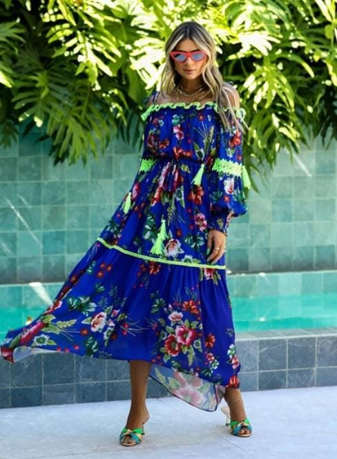 Vestido Midi Floral Hand - Sclub