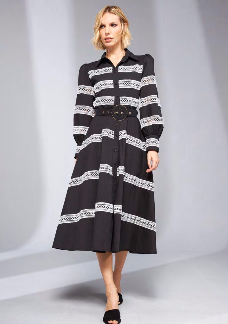 Vestido Tricoline Detalhado - SKAZI