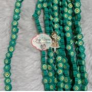 Aplique emborrachado flor verde com carinha 40 unidades