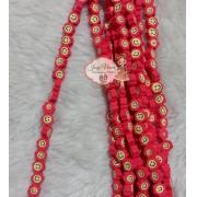 Aplique emborrachado flor vermelha com carinha 40 unidades