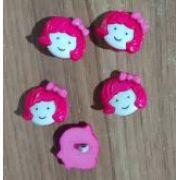 Botões Garota Rosa (12 unidades)