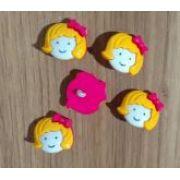 Botões Garota Rosa com Amarelo (12 unidades)