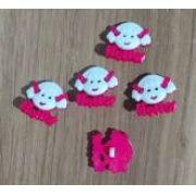 Botões Hello Rosa com Branco (12 unidades)