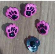 Botões Patinha preto com Rosa (12 unidades)