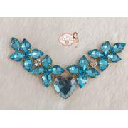 Cabedal BANHADO Azul Bebê Flor com Coração  COM PIERCING(Par)