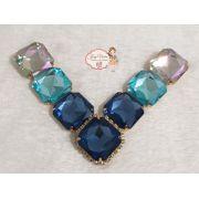 Cabedal BANHADO Azul com pedras quadradas COM PIERCING(Par)
