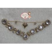 Cabedal BANHADO Cristal com corrente coração  com pedras redondas PIERCING(Par)