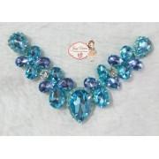 Cabedal BANHADO Flor com fundo Azul BB COM PIERCING(Par)