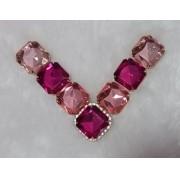 Cabedal BANHADO Rosa e pink pedras quadradas COM PIERCING(Par)