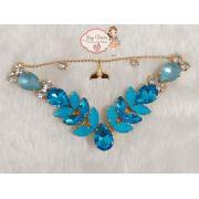 Cabedal BANHADO Sereia  Azul COM PIERCING(Par)