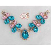 Cabedal Borboleta Azul com Rosa (Par)