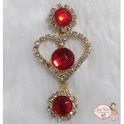 Cabedal Lateral Coração com pedra Vermelha (Par)