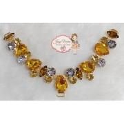 Cabedal Pedraria Amarelo com cristal(Par)