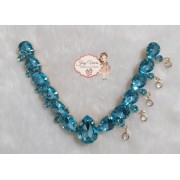 Cabedal pedraria Azul Claro com Pingentes (Par)