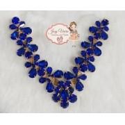 Cabedal Pedraria Azul Mini Borboletas(Par)