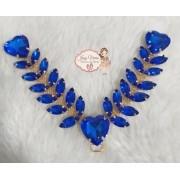 Cabedal pedraria com coração Azul (par)
