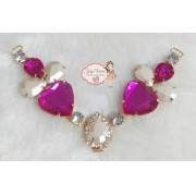 Cabedal PEDRARIA Coração Pink(Par)