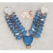 Cabedal Pedraria Degradê Azul Bebê(Par)