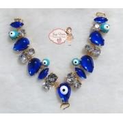 Cabedal PEDRARIA Olho Grego Azul novo(Par)