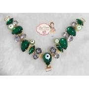 Cabedal PEDRARIA Olho Grego Verde novo(Par)