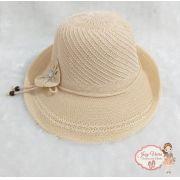 Chapéu de praia Creme com Flor