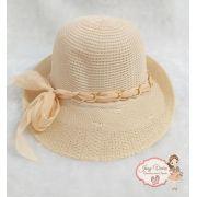 Chapéu de praia Creme com laço