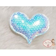 Coração de tecido com lantejoulas Azul Bebê(1unidade)