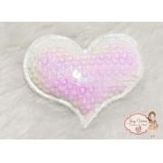 Coração de tecido com lantejoulas Fruta cor(1unidade)