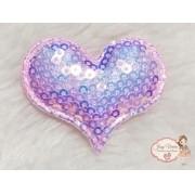 Coração de tecido com lantejoulas Rosa Bebê(1unidade)