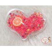 Coração P transparente com estrelas laranja(1 Unidade)