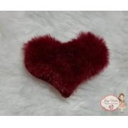Coração tecido e pelucia Bordô 6 cm(Cada)