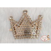 Coroa de 3 pontas Dourada com strass (Par)