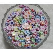 Entremeio 10 mm flor com letra colorido 100g